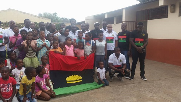 How IPOB In Maputo Visits Orphanage, Storms  Entire Mozambique With BIAFRA (Photos) Flag and Logo