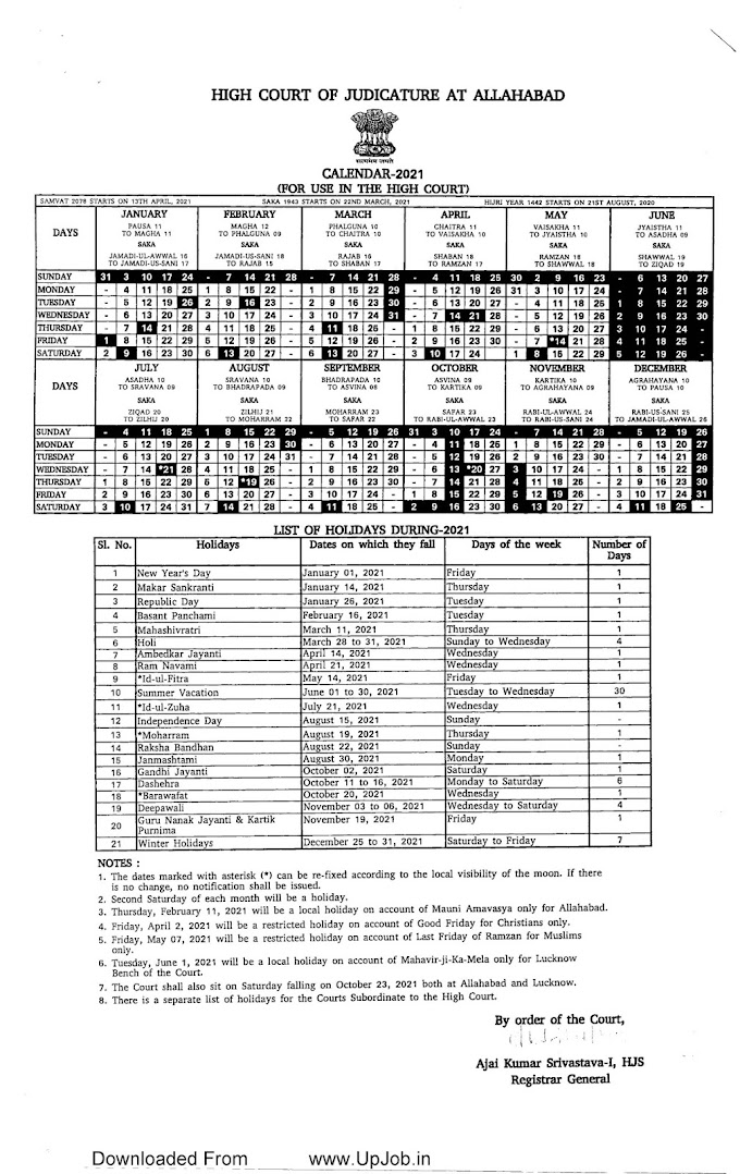 Allahabad High Court Holiday List Calendar 2021 District court UP