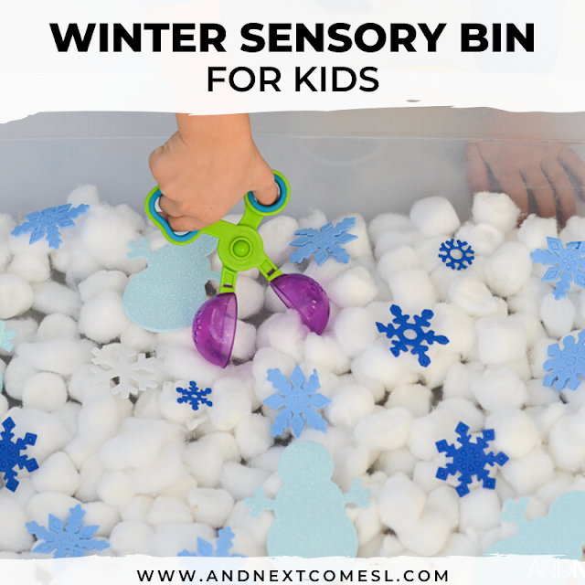Winter sensory bin for toddlers and preschoolers