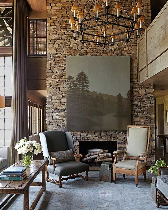 Elegant Living Room Designs Ideas with Stone Wall