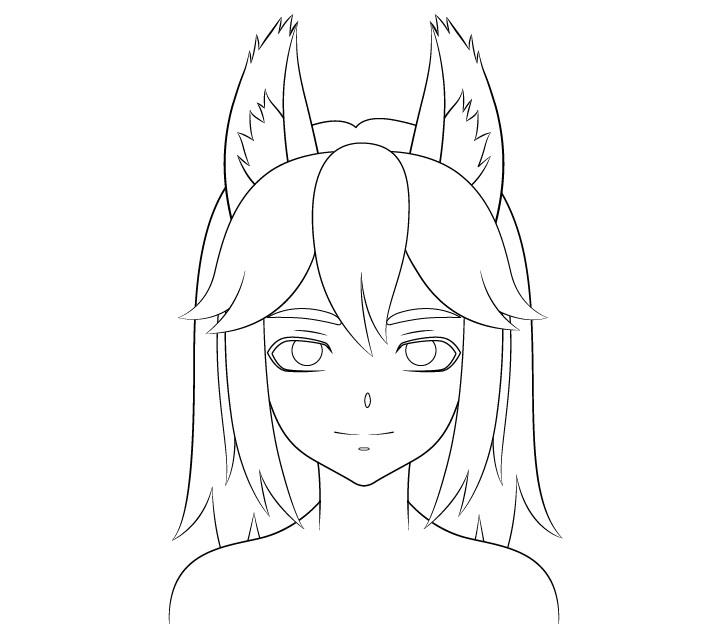 Anime gambar bulu telinga serigala gadis