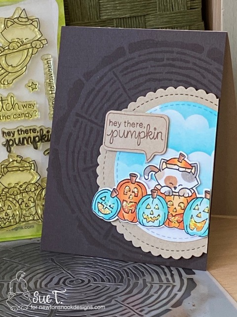 Hey there pumpkin by Sue features Newton's Boo-tiful Night, Circle Frames, Wood, and Speech Bubbles by Newton's Nook Designs; #inkypaws, #newtonsnook, #halloweencards, #catcards, #cardmaking