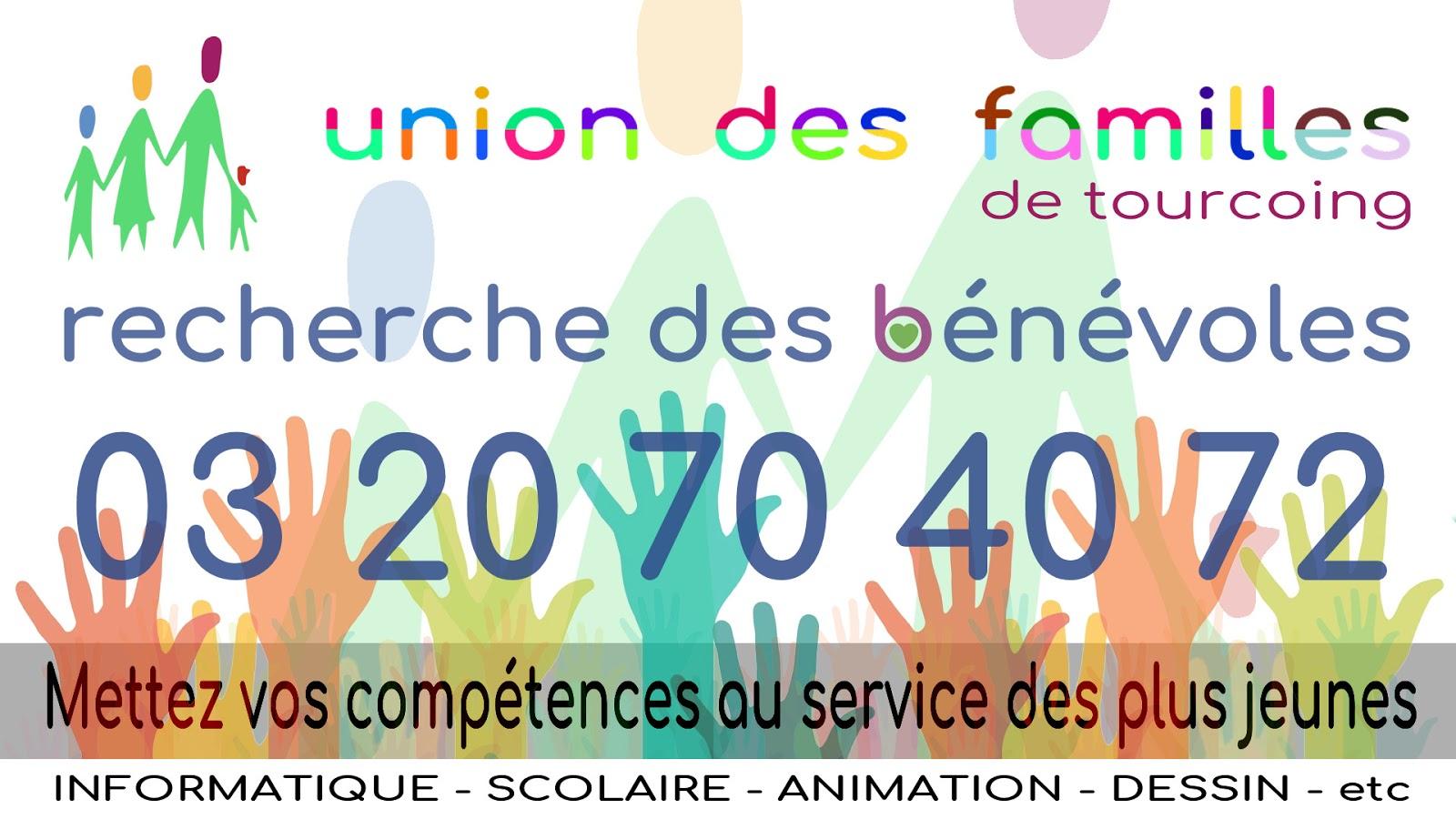 Union des Familles de Tourcoing - Recherche de bénévoles.