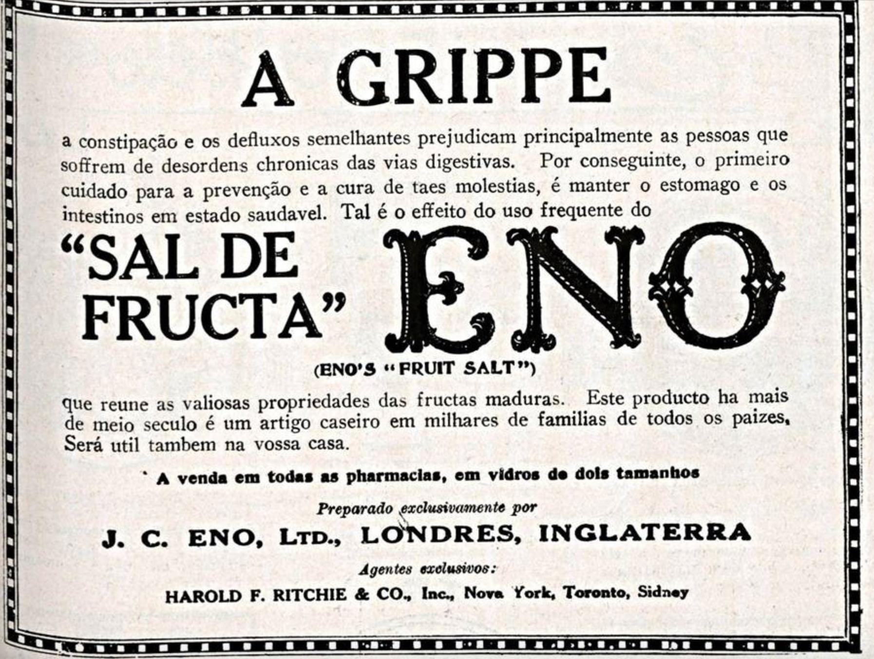 Propaganda antiga veiculada em 1925 do Sal de Fruta Eno