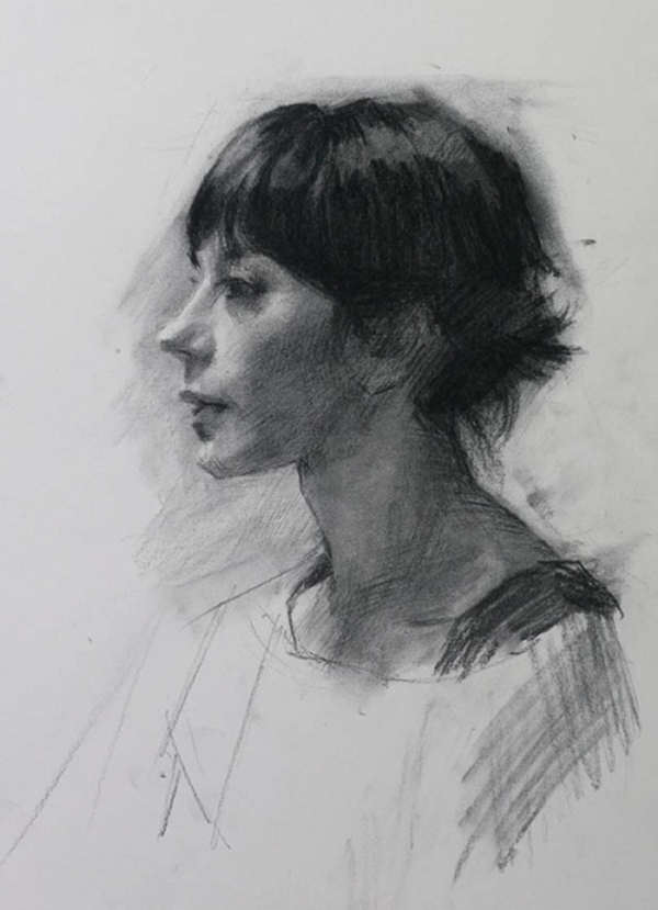 10-Profile of Girl-Louis-Smith-Charcoal-Portrait-Study-Drawings-www-designstack-co