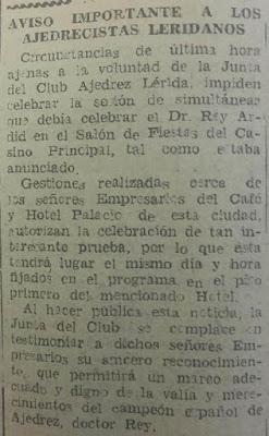 El ajedrecista Dr. Ramón Rey Ardid en Lérida en 1943