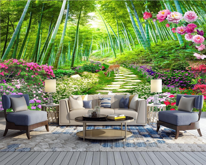 Tranh Dán Tường Phong Cảnh Rừng Trúc Hoa Mẫu Đơn Phòng Khách Đẹp