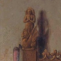 Detail of the figurine of Saint Margaret, the patron saint of pregnancy and childbirth in Jan van Eyck's Arnolfini Portrait