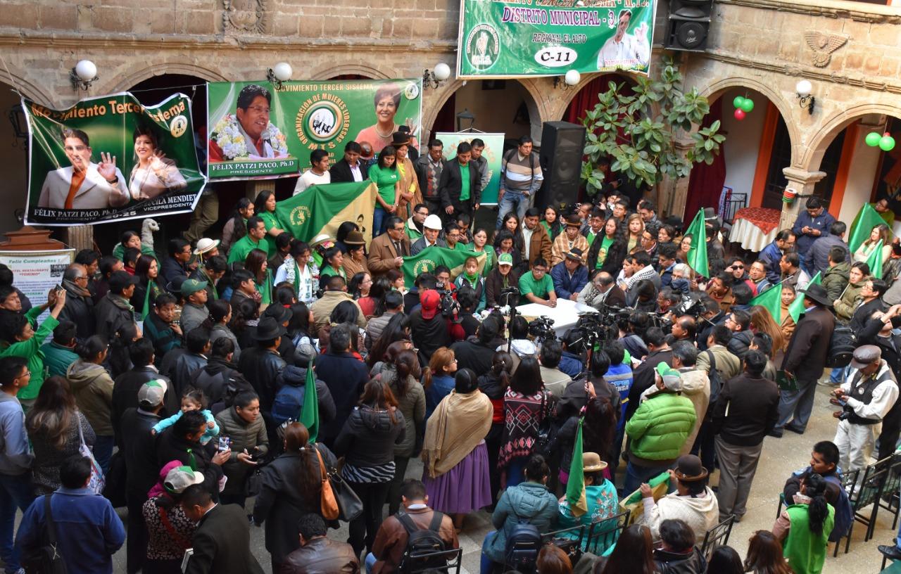El partido de Patzi presentó a sus candidatos legislativos en La Paz, con cuatro comunicadores en sus filas / PRENSA MTS