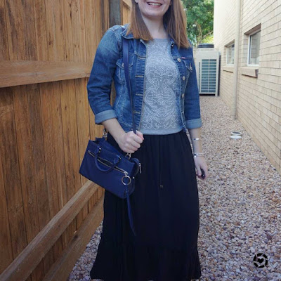 awayfromtheblue Instagram | embellished grey knit black maxi skirt denim jacket navy micro bedford bag