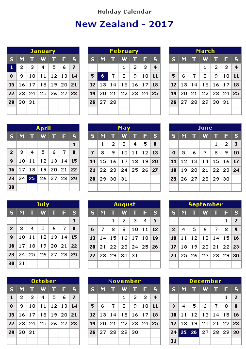 Calendar Nz Printable : Calendar new zealand holidays