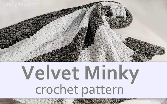 Velvet Minky Crochet Pattern in dark grey and silver velvet yarn