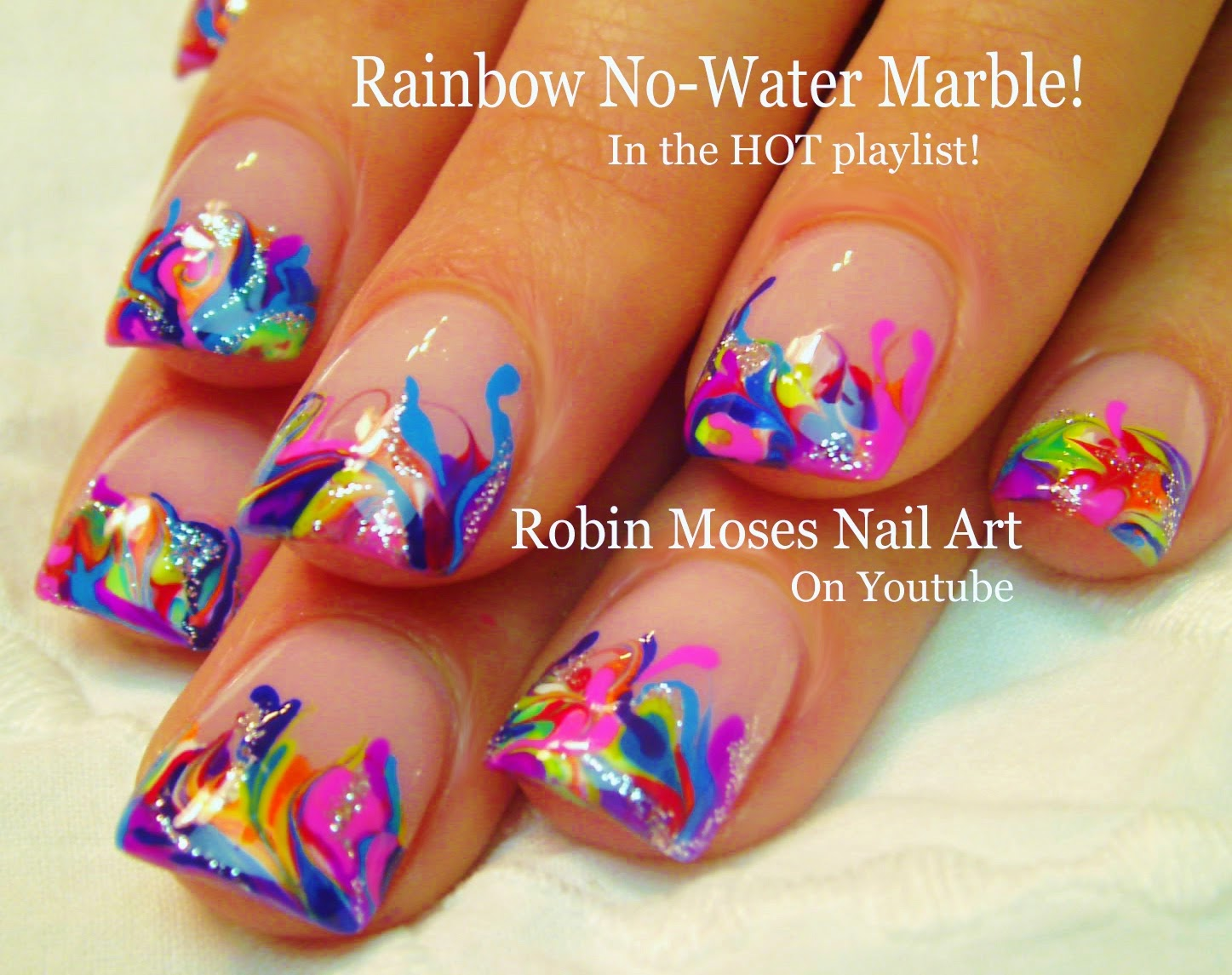 Nail Art By Robin Moses No Water Marble With Handpainted