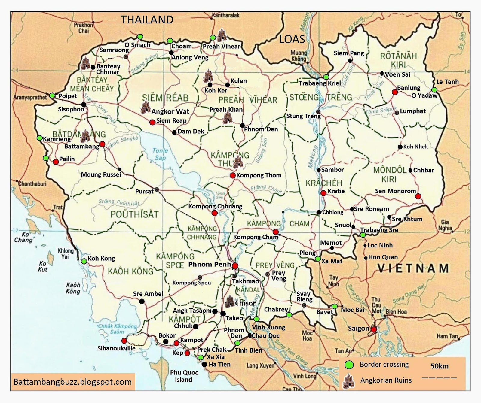 All About Battambang Cambodia Travel Map with Border Crossings 2018
