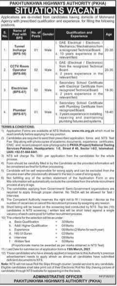 Pakhtunkhwa Highways Authority PKHA Mohmand Jobs 2021 | Via NTS