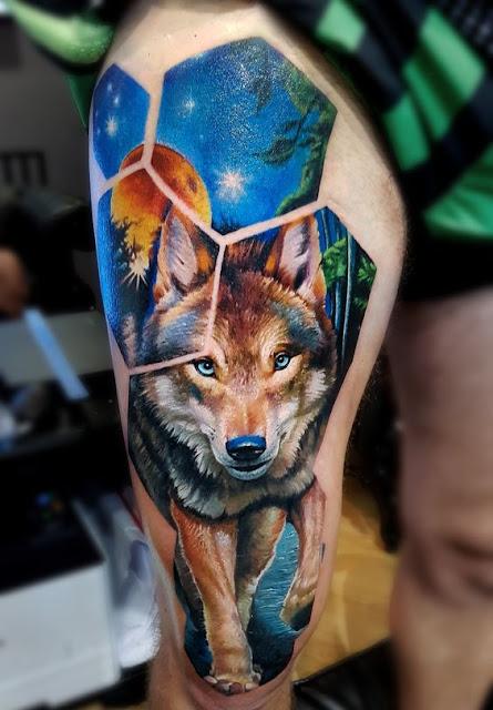 wolf realistic tattoo desing