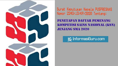Download Surat Keputusan/SK Kepala Pusat Prestasi Nasional Nomor 2243/J3/KP/2020 Tentang Daftar Pemenang Kompetisi Sains Nasional KSN Jenjang SMA 2020