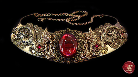 collier dragon medieval renaissance rouge rubis mythical dragons necklace red ruby game of thrones