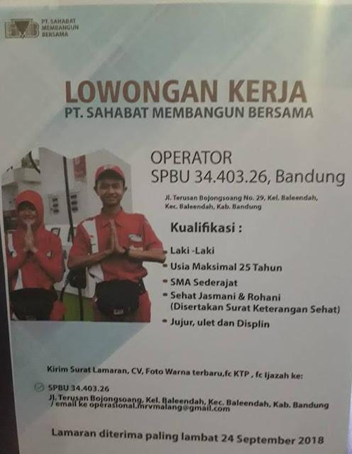 Lowongan Kerja Operator SPBU di Bandung