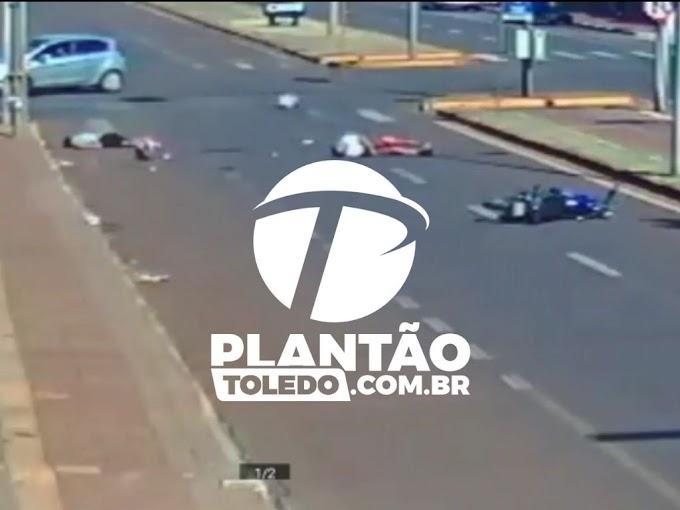 VIDEO: Confira o momento do acidente deste sábado onde jovem perde vida em toledo