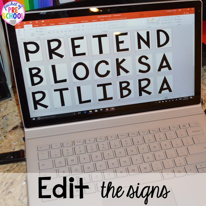 Editable Center Signs - Pocket of Preschool
