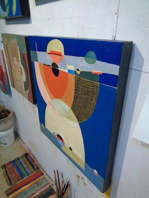 steel sky woman studio abstract painting oil