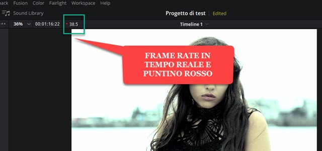 frame rate in tempo reale e puntino rosso