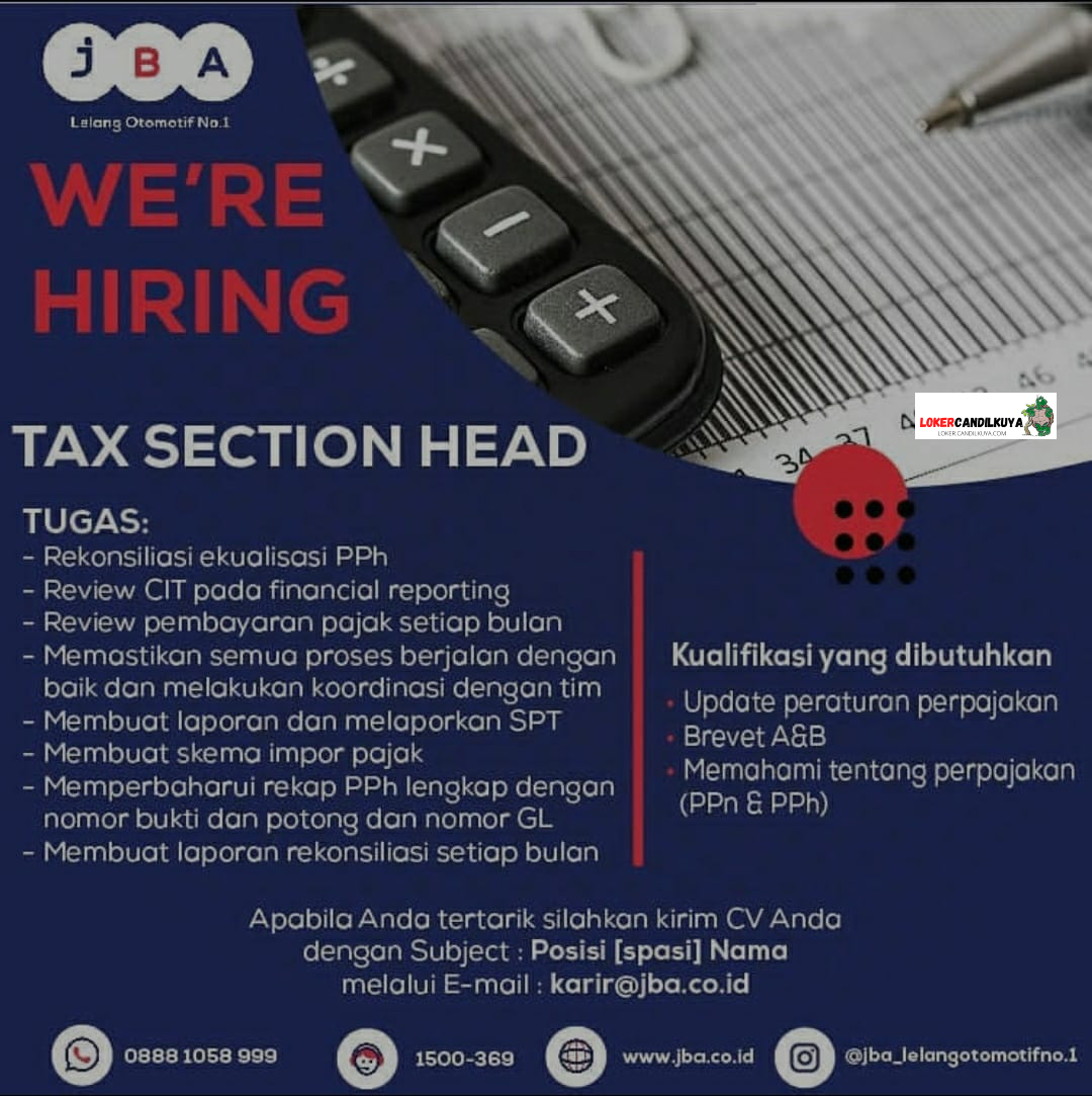 Lowongan Kerja Tax Section Head