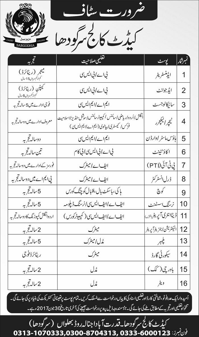 Jobs in Cadet College Sargodha 22 May 2017