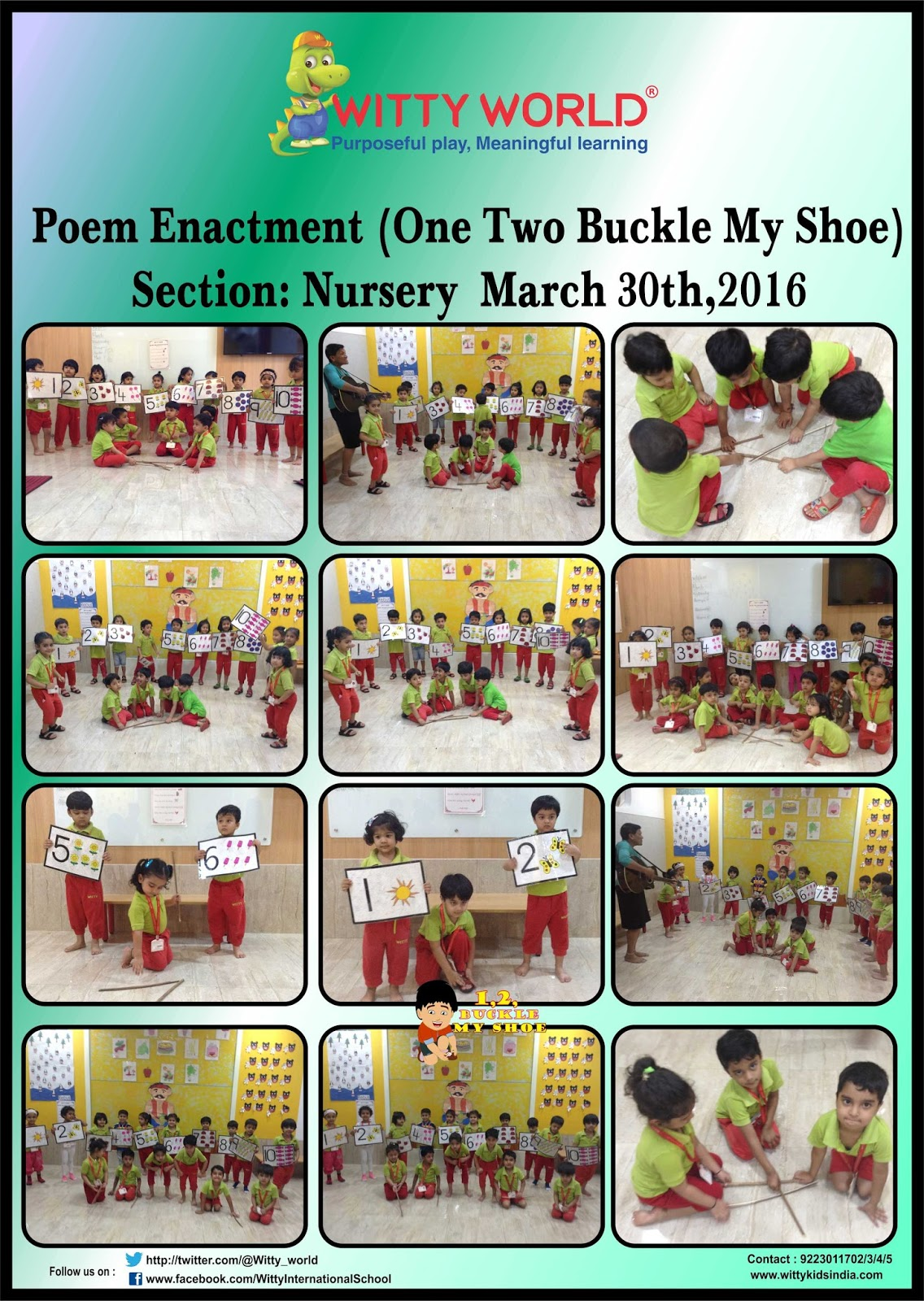 On The Top Of The World Poem Enactment One Two Buckle My Shoe By Nursery Section At