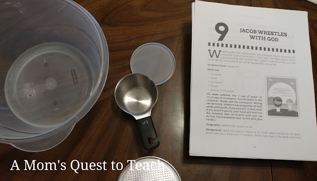empty container, measuring cup, cornstarch, Jacob Wrestles with God lesson plan