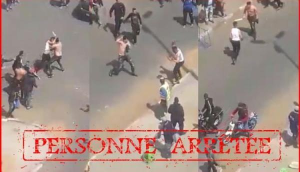 الأمن يتفاعل بسرعة كبيرة مع فيديو الشجار بالأسلحة البيضاء بالشارع العام بالبيضاء