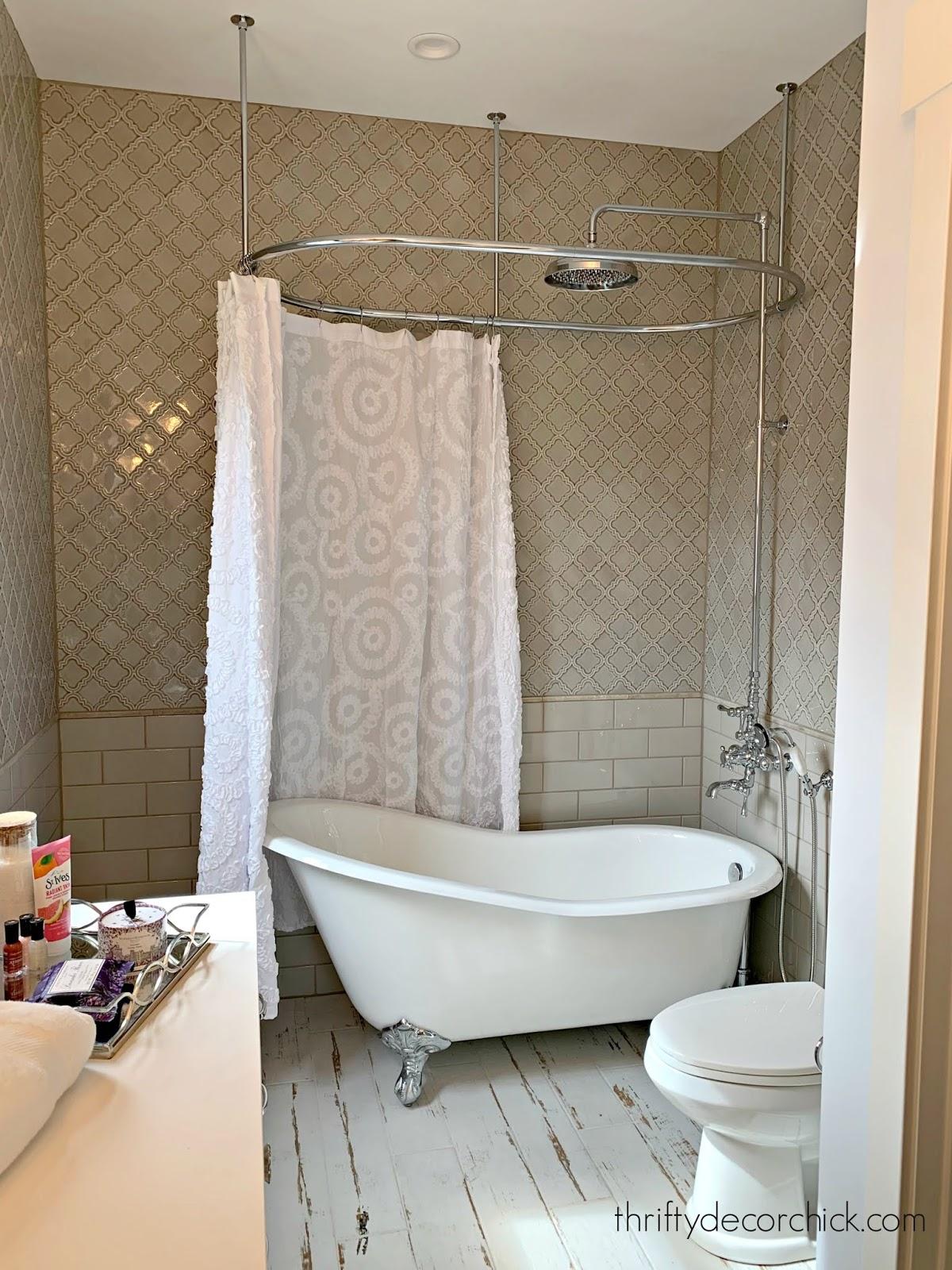 Romantic bathroom clawfoot tub gray tile