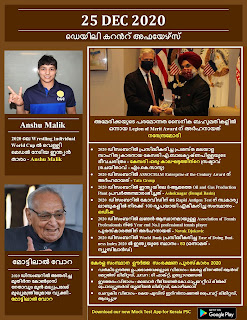 Daily Malayalam Current Affairs 25 Dec 2020