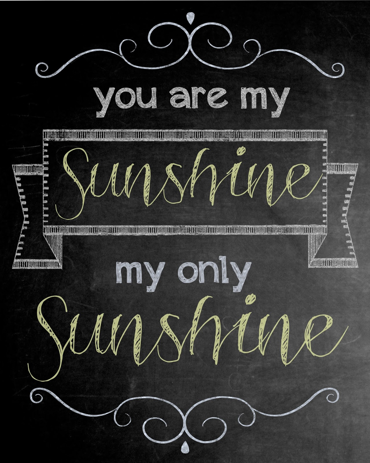 photo regarding You Are My Sunshine Free Printable titled Free of charge printable: Your self are my Solar chalkboard artwork! - The