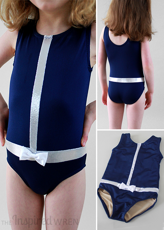 Perfect in navy & silver! My Childhood Treasures Swim/Leotard 2 with added color-blocking & lining. | The Inspired Wren