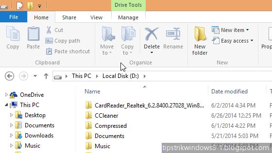 cara menampilkan dan menghilangkan ribbon di file explorer windows 8.1