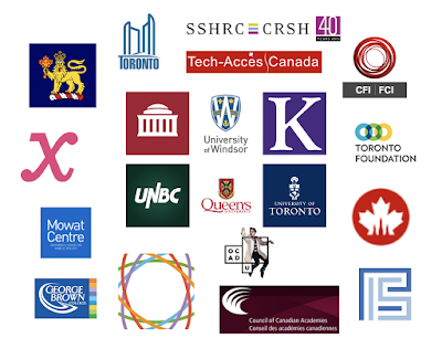 Image showing the logos from the universities where I have earned formal credentials surrounded by logos of institutions for whom I have done service, and so have learned from