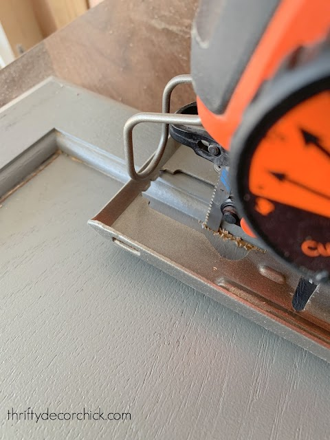 using jigsaw to remove center of cabinet front