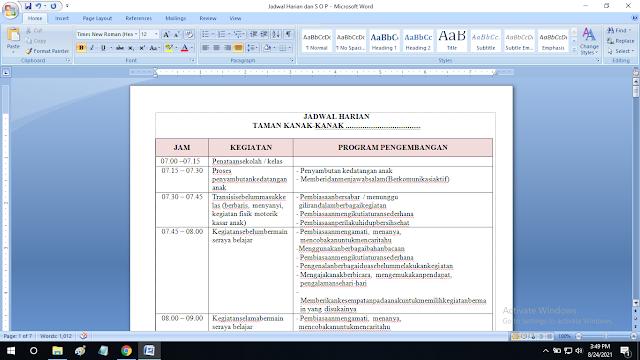 Jadwal Harian dan S O P Paud Kelompok B Kurikulum 2013 Pendidikan Anak Usia Dini