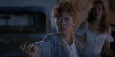 When Thelma (Geena Davis) doesn't listen to Louise (Susan Sarandon), Louise has to rescue her from a rapist in THELMA & LOUISE (1991).