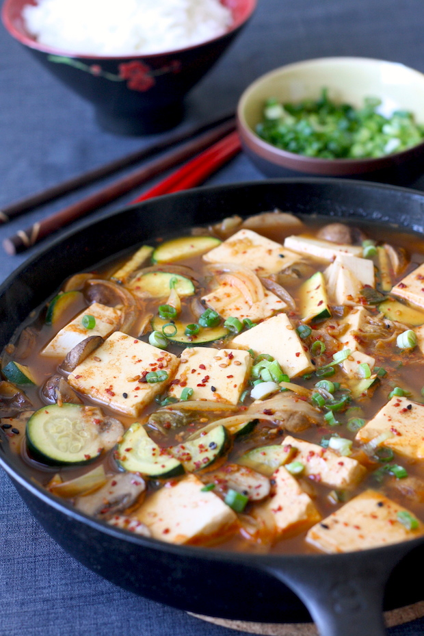 Korean Tofu Stew in Skillet recipe by SeasonWithSpice.com
