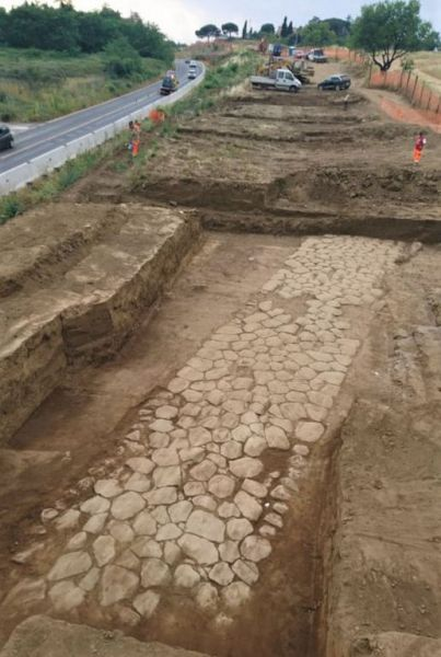 Stretch of the ancient Via Tiburtina resurfaces at Guidonia, near Rome