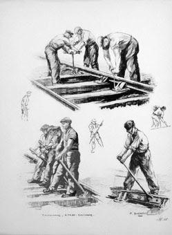 Illustration du métier de poseur en chemin de fer