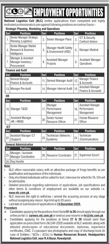 National Logistic Cell NLC Jobs in Pakistan For Male and Female - Download Job Application Form - careers.nlc.com.pk/cp_oppor.php Jobs 2021