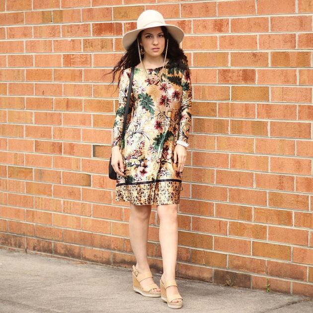 SheIn Mixed Print Velvet Dress