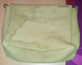Sac en cuir retourné cousu main avec malachite incrustée