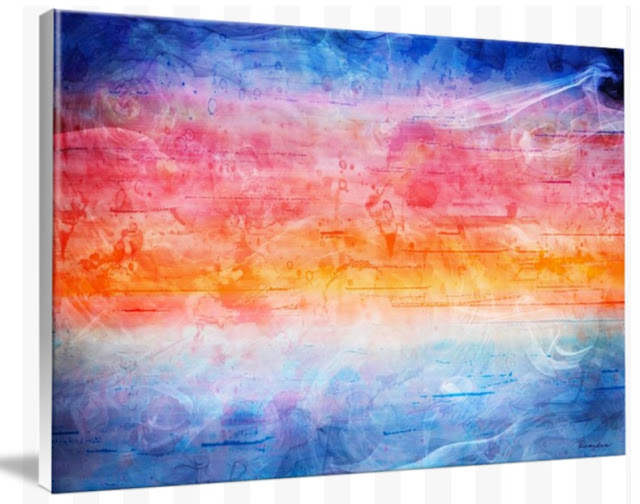 Digital Sunrise Seascape Abstract Painting 1b by Ricardos Creations