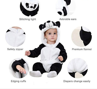 Unisex Baby Flannel Jumpsuit Panda Style (Fits for Age: 4-24 Months)
