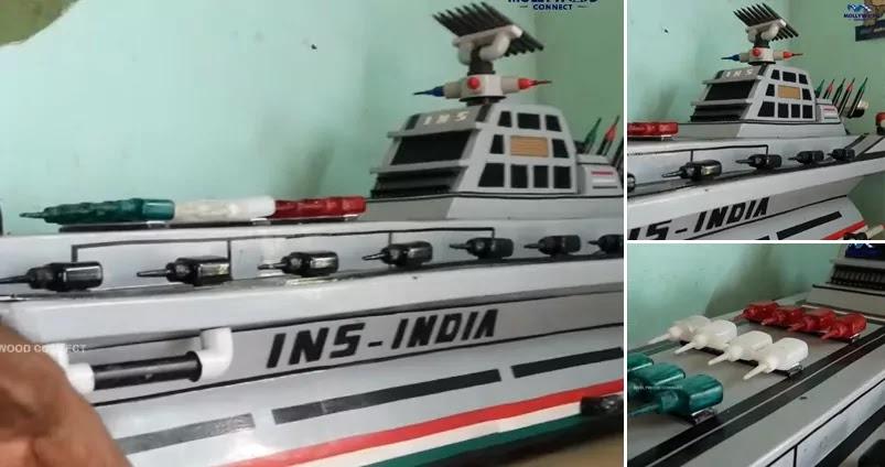 INS India, Warship Prototype, Paper Craft, Artwork